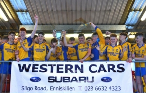 The Gaels minors celebrate after winning the Minor A Championship final v Irvinestown